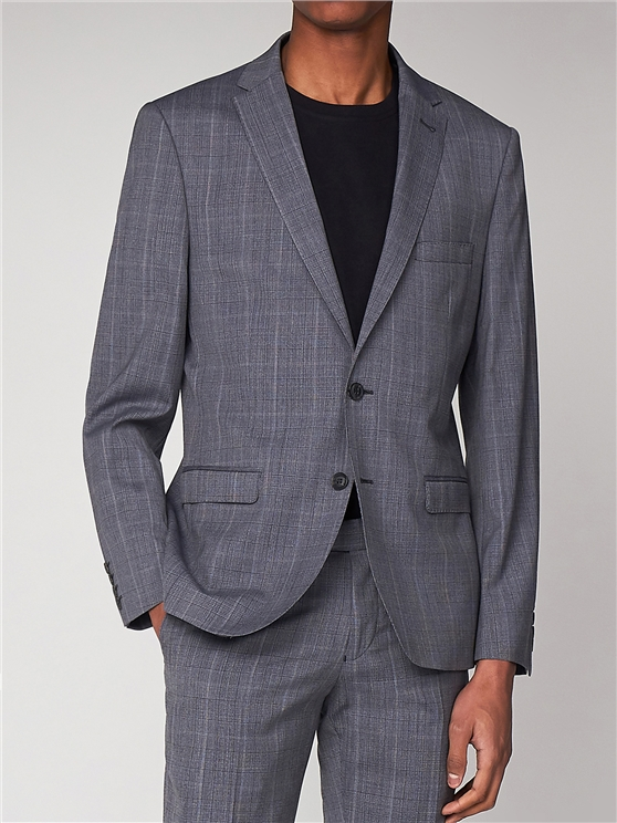 Smoked Grey Textured Check Suit Jacket