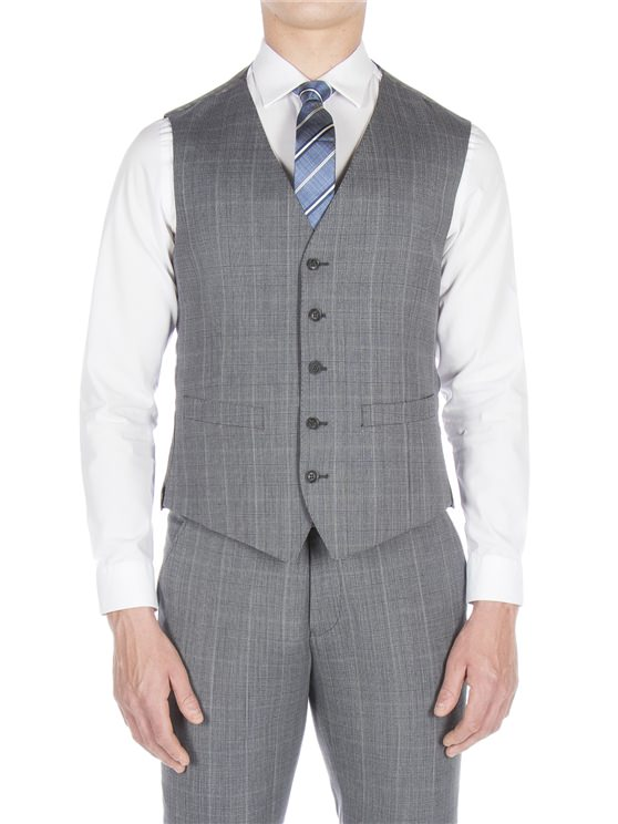 Smoked grey textured check waistcoat