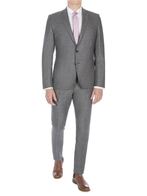 Smoked Grey Textured Jaspe Suit Jacket