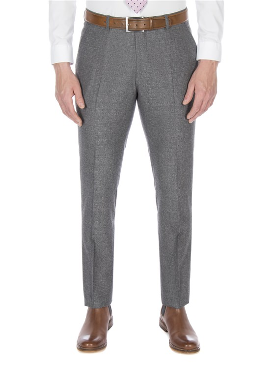 Smoked Grey Textured Jaspe Suit Trouser