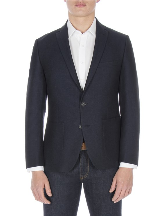 Navy Textured Linen Jacket
