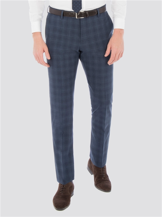 Airforce Blue Wool Blend Slim Trouser