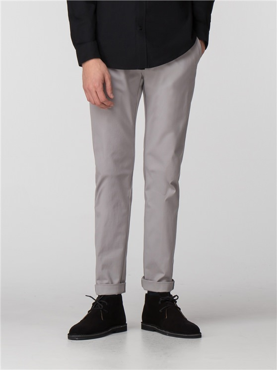 Light Ash Grey Skinny Stretch Chino