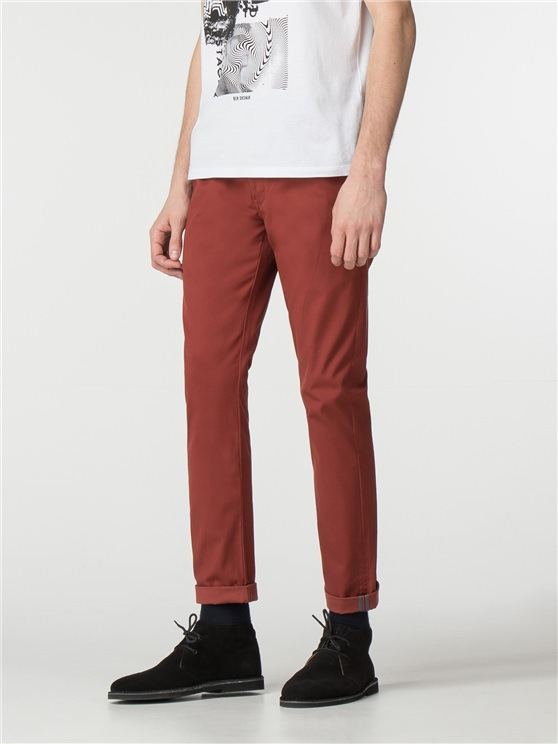 Rust Brown Skinny Stretch Chino
