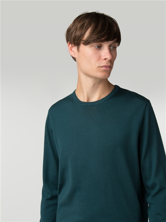 Green Merino Crew Neck Jumper