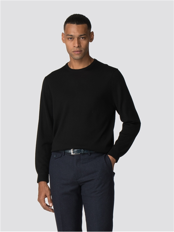 Black Merino Crew Neck Jumper