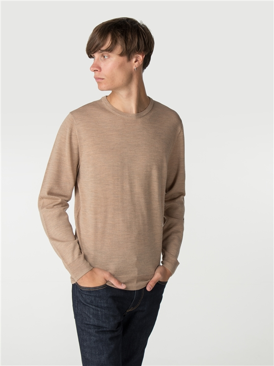 Light Brown Merino Crew Neck Jumper