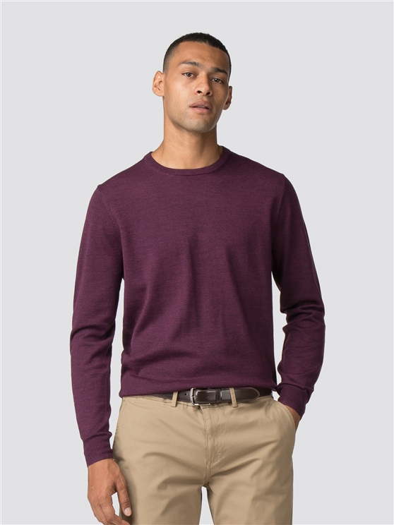 Berry Red Merino Crew Neck Jumper