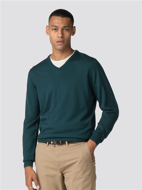 Green Merino V Neck Jumper
