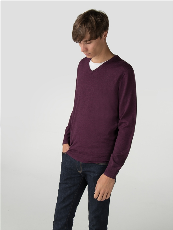 Berry Merino V Neck Jumper