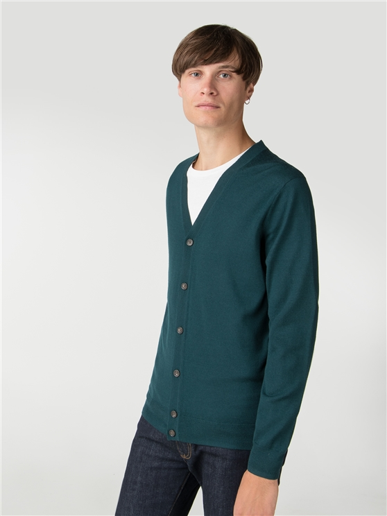 Dark Green Merino Cardigan