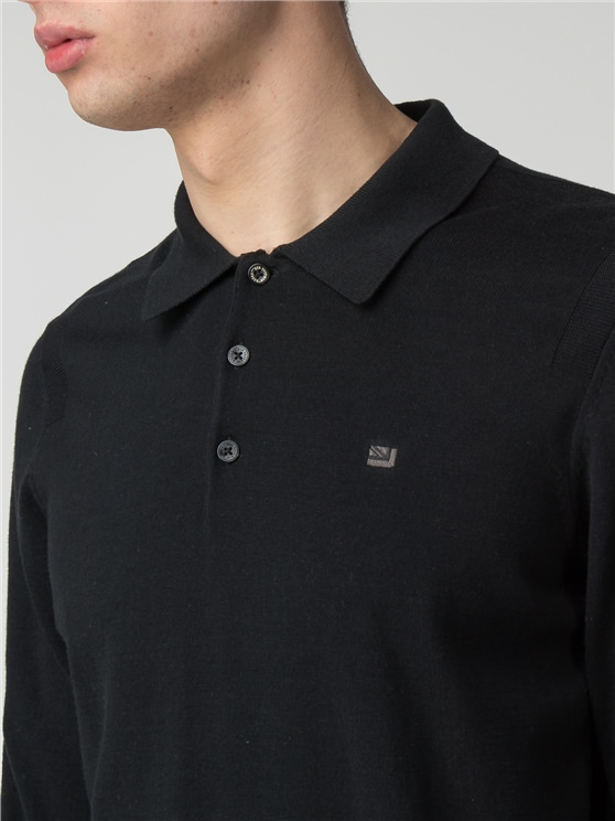 Black Cotton Long Sleeve Polo
