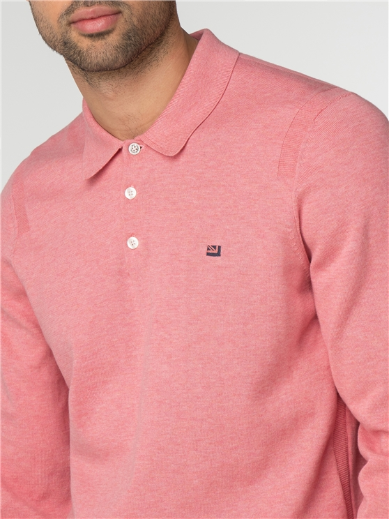 Rose Pink Cotton Long Sleeve Polo