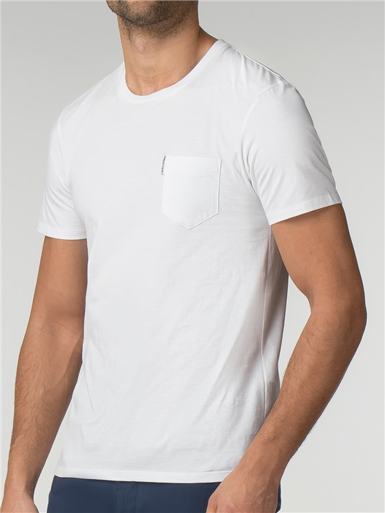 White Plain Pocket Crew Neck T-Shirt