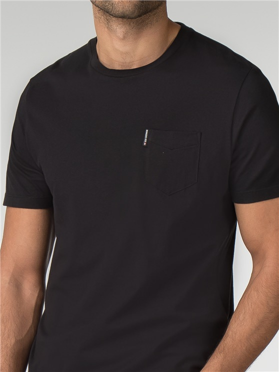 Black Plain Pocket Crew Neck T-Shirt