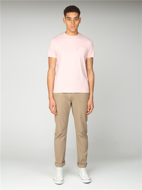 Pale Pink Plain Pocket Crew Neck T-Shirt