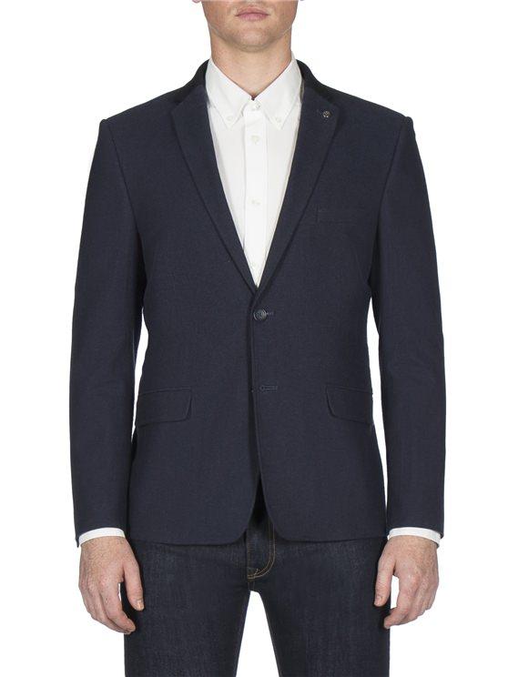 Navy Woven Pique Jacket