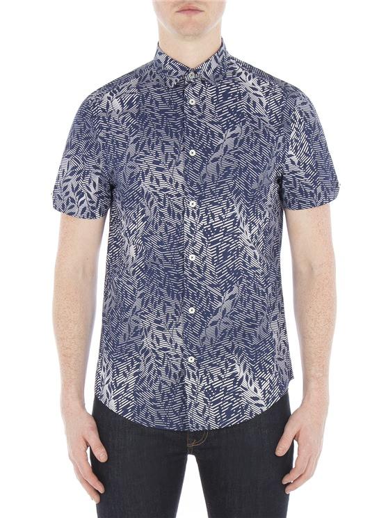 Short Sleeve Linear Floral Print Shirt