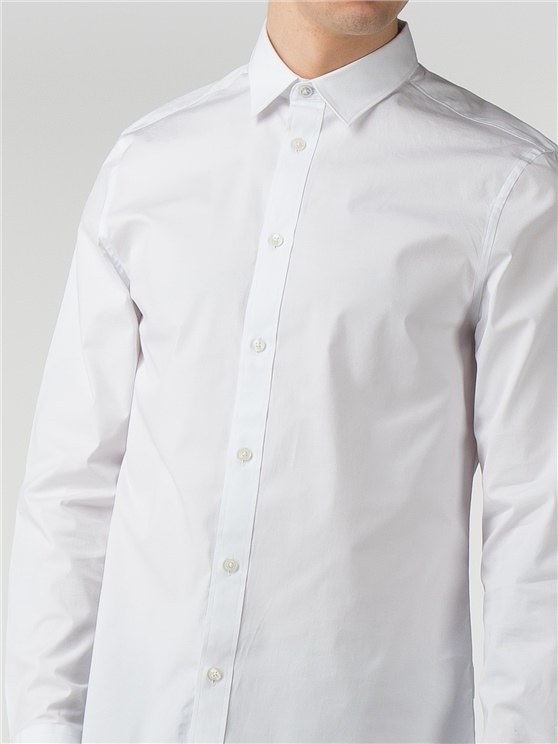 White Long Sleeve Stretch Poplin Shirt