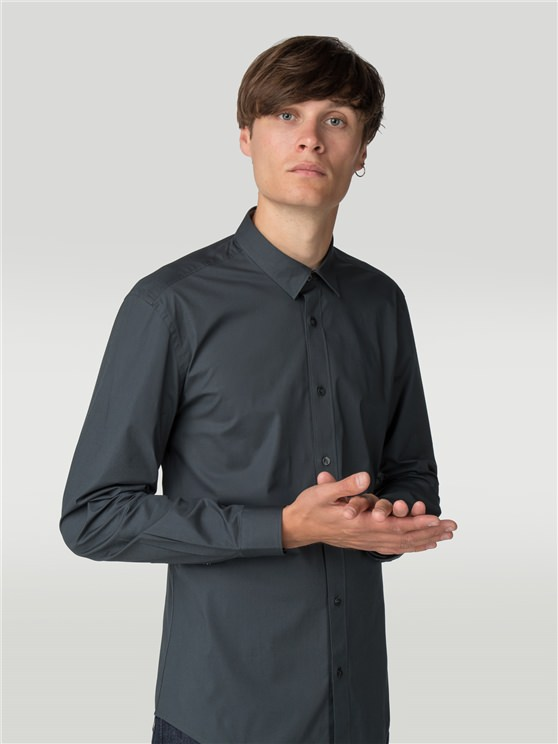 Peat Long Sleeve Stretch Poplin Shirt