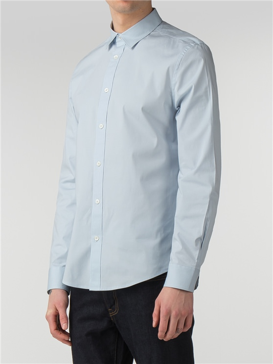 Sky Blue Long Sleeve Stretch Poplin Shirt