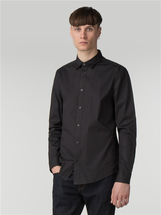 Black Long Sleeve Stretch Poplin Shirt