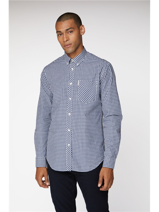 Blue Long Sleeve Gingham Shirt