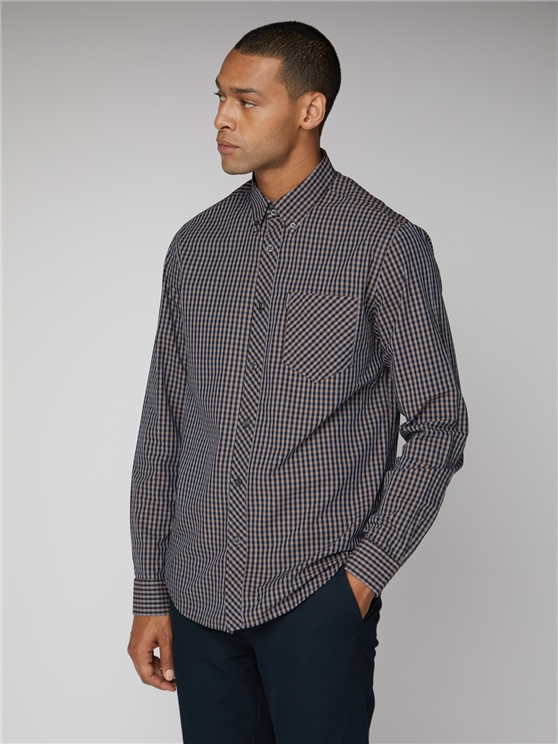 Grey Long Sleeved Core Gingham Shirt