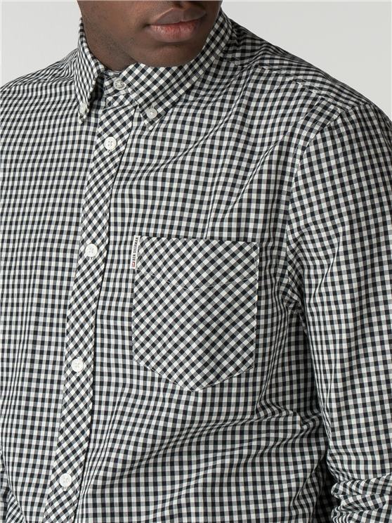 Black Long Sleeve Gingham Shirt