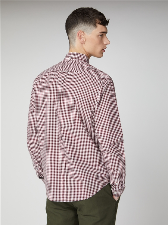Oxblood Long Sleeve Gingham Shirt