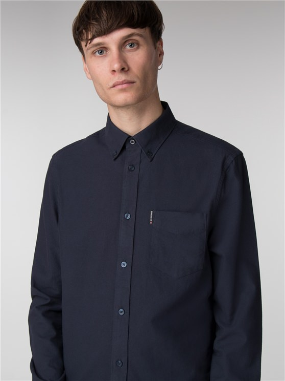 Long Sleeve Navy Oxford Shirt