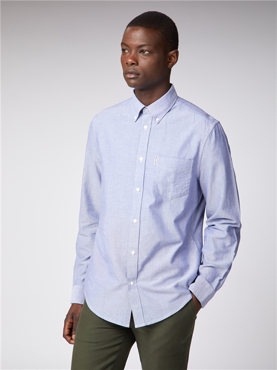 Long Sleeve Dark Blue Oxford Shirt