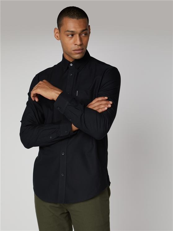 Long Sleeve Black Oxford Shirt