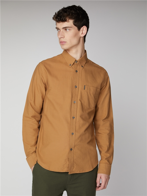 Long Sleeve Camel Oxford Shirt