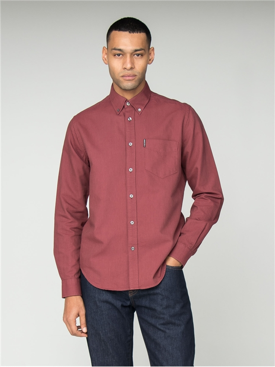 Long Sleeve Red Oxford Shirt
