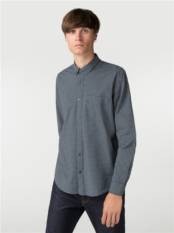 Sailor Blue Long Sleeve Mini House Gingham Shirt