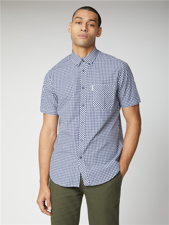 Short Sleeve Blue Gingham Shirt