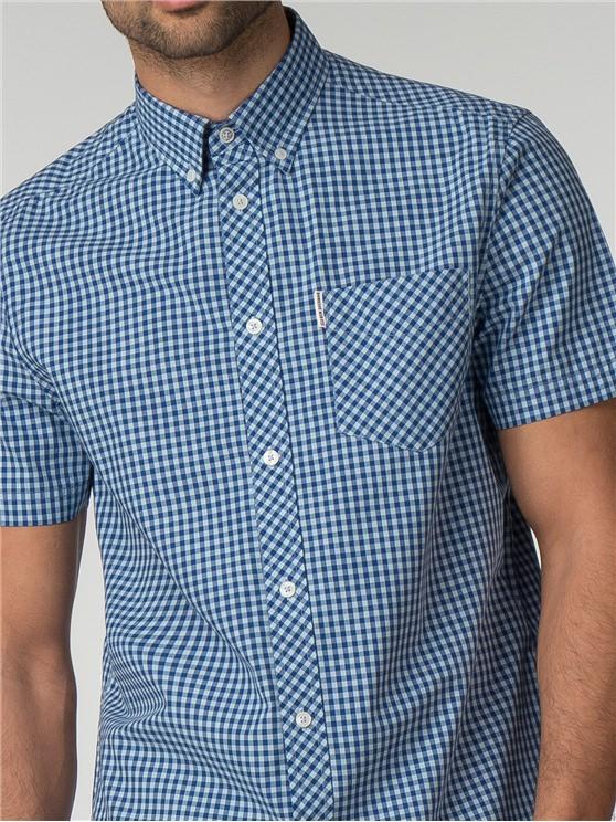 Short Sleeve Sky Blue Gingham Shirt