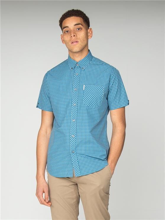 Short Sleeve Bright Blue Gingham Shirt