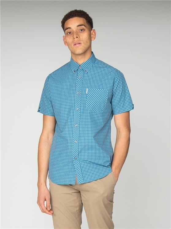 Short Sleeve Bright Blue Button Down Gingham Shirt