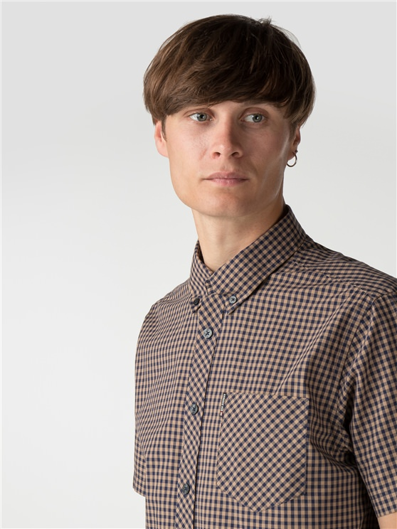 Short Sleeve Light Brown Gingham Shirt