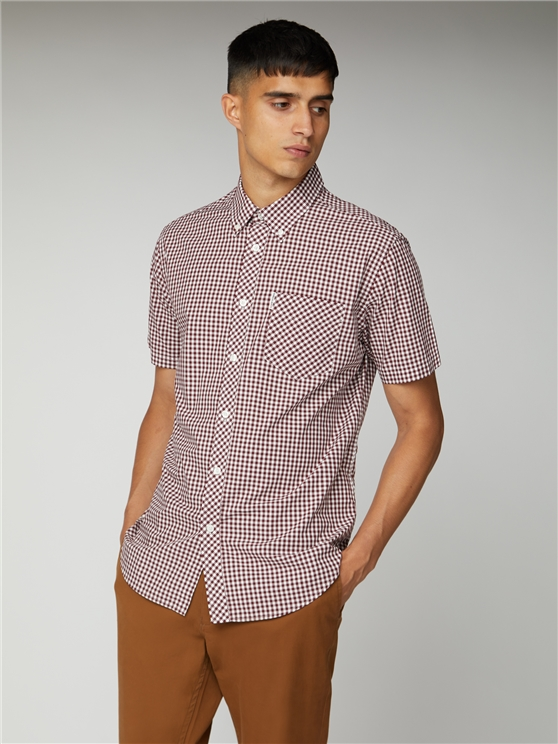 Short Sleeve Oxblood Button Down Gingham Shirt