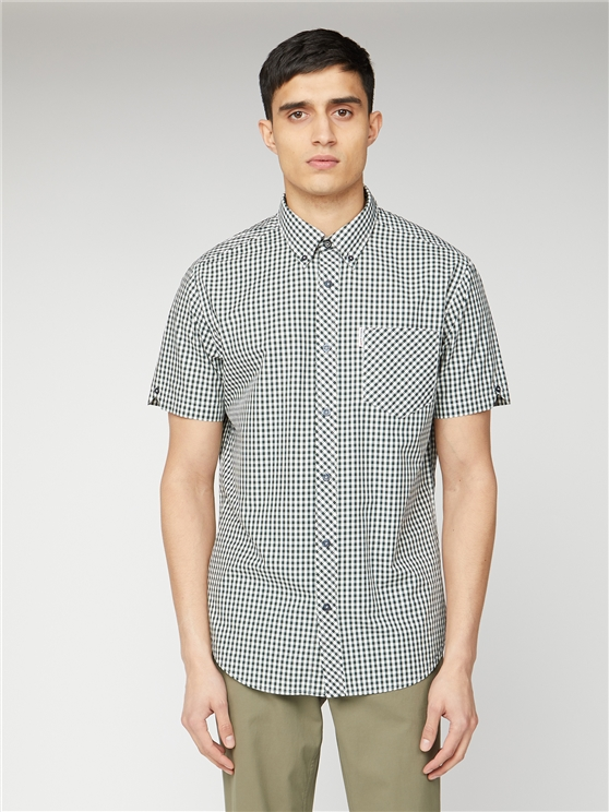 Short Sleeve Dark Green Gingham Shirt