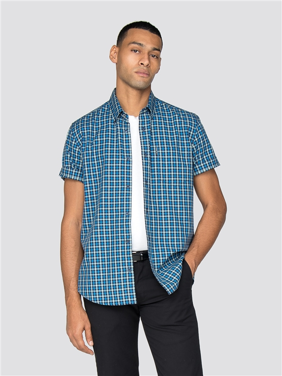 Bright Blue Short Sleeve House Gingham Shirt
