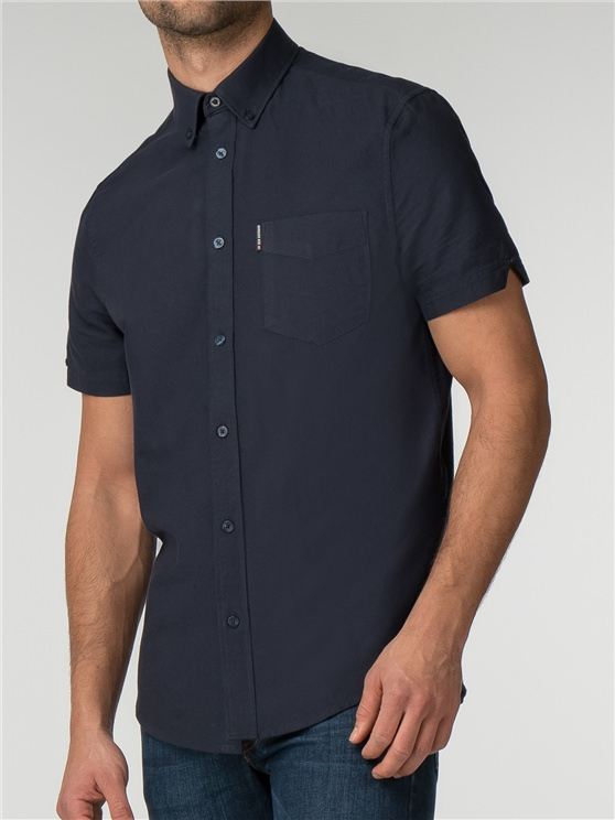 Navy Short Sleeve Plain Oxford Shirt