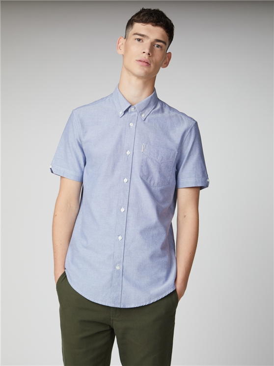 Blue Short Sleeve Plain Oxford Shirt