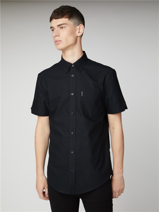 Black Short Sleeve Plain Oxford Shirt