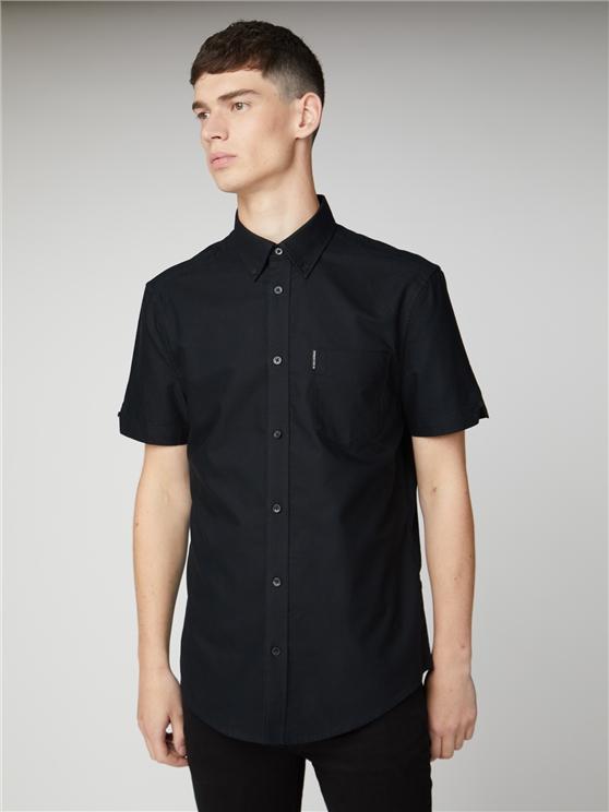 Black Short Sleeve Plain Button Down Oxford Shirt