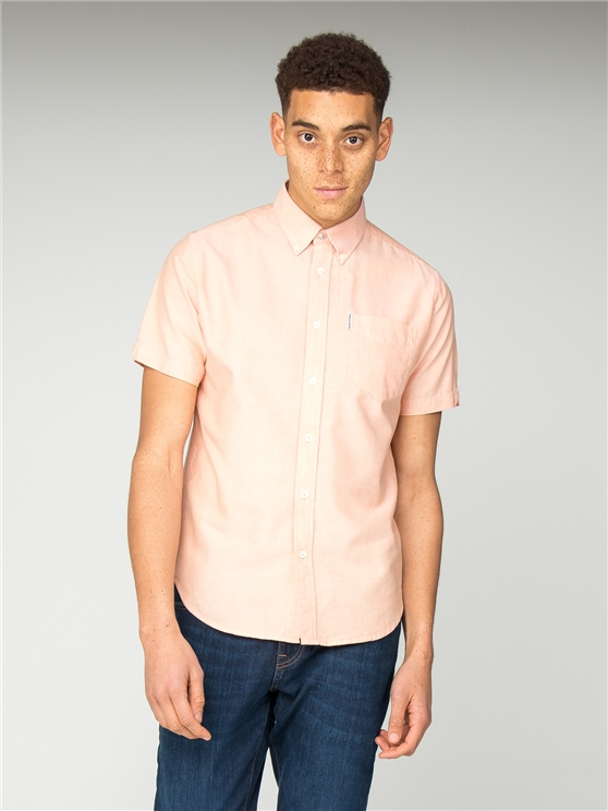Orange Short Sleeve Plain Button Down Oxford Shirt