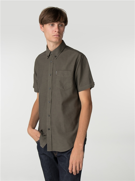 Olive Short Sleeve Plain Oxford Shirt
